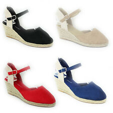 NEW WOMENS LADIES MID WEDGE HEEL ANKLE STRAP SANDALS ESPADRILLES SHOES SIZE 3-8