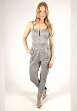 New Womens Going Out Party Classy Salt and Pepper Sleeveless Jumpsuit