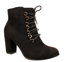 LADIES ANKLE BOOTS WOMENS MID BLOCK HEEL LACE UP FAUX SUEDE SHOES SIZE UK 3-8