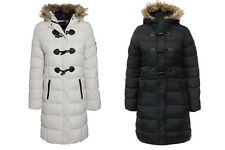 Ladies Faux Fur Trim Lined Hooded Full Zip 3 Toggle Buttons Winter Jacket