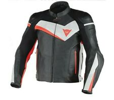 Giacca moto pelle Dainese Veloster nero bianco rosso