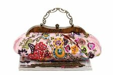 Baby Pink Embroidered Beaded Florals Evening Purse Handbag Formal Or Casual