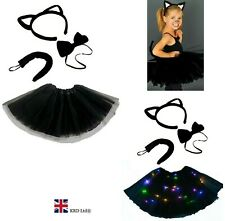 Kids WITCHES BLACK CAT Fancy Dress Halloween Costume TUTU Ears Accessory Set UK