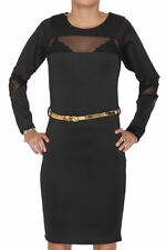 Women Ladies Kim Kardashian Inspired Mesh Insert Belted Bodycon Dress 8 10 12 14