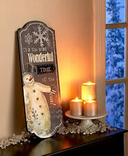 Traditional Holiday Wall Snowman Wood Plaque Sign Winter Wooden Christmas Decor