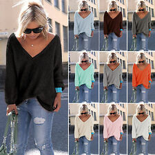 Women Long Sleeve Loose Knitted Jumper Tops Ladies Casual Baggy Knitwear Sweater