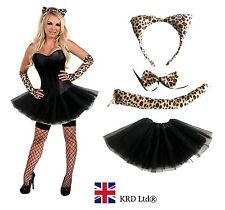 Ladies LEOPARD Halloween Fancy Dress Girls Wild Cat Tutu Costume Skirt Gloves UK