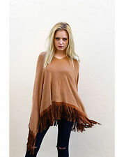 Lady's Knitted poncho cape wraps camel Top light brown with Faux Leather Tassel