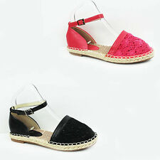 WOMENS LADIES CROCHET FLOWER CANVAS MESH ESPADRILLES SANDALS SHOES SIZE 3-8