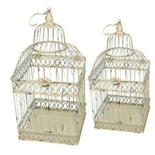 CAGE A OISEAUX DECORATIVE CARREE ANTIQUE IVOIRE