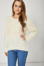 Warm And Lovely Cream Fluffy Jumper For Ladies
