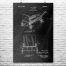 Toy Pull Wagon Poster Patent Art Print Gift Kids Room Boys Room Red Push Vintage