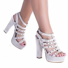 WOMENS LADIES HIGH BLOCK HEEL PLATFORM PARTY GOING OUT SHOES PEEP TOE SANDALS