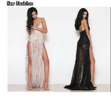 Sexy Women's Sequins High-Slit Long Maxi Dress Evening Prom Cocktail Club Party