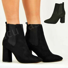 New Womens Chelsea Ankle Boots Ladies Mid Block Heel Winter Smart Shoes Size Uk