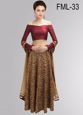 Bollywood Inspired -   Party Wear Maroon & Beige Lehenga Choli - FML-33
