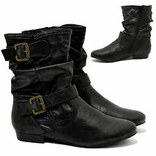 NEW WOMENS LADIES ZIP UP BLOCK HEELS SLACKS CHELSEA ANKLE BOOTS SHOES SIZE 3-8