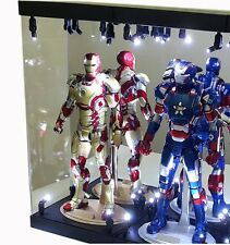 """Mb-2A Acrylic Box Display Case For Two 12"""" 1/6Th Scale Iron Man 3 Tony Stark Col"""