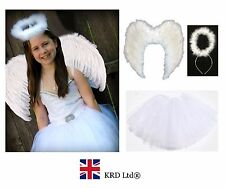 Kids Angel Fairy Feather Wings Halo Fancy Dress Costume Outfit Stage Party WHITE
