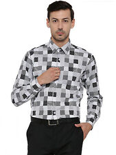 Hancock White and Black Printed Pure Cotton Slim Fit Formal Shirt  (43352Black)