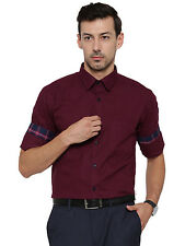 Hancock Maroon Solid Pure Cotton Slim Fit Formal Shirt  (43361Maroon)
