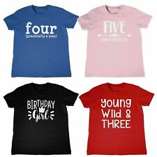 New Childrens T-Shirt Birthday Designs Ages 3-8 Kids Childs Top Gift Present