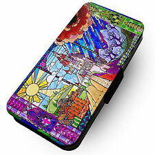 Stained Glass Beast Castle - Printed Faux Leather Flip Phone Cover Case