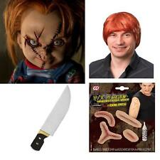 3Pc Wig Knife and Sewn Scars Instant Chucky Kit Horror Movie Childs Halloween