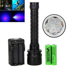 50W 390nm 5 x UV LED Linterna Buceo Submarino 2x18650 Flashlight Diving Antorcha