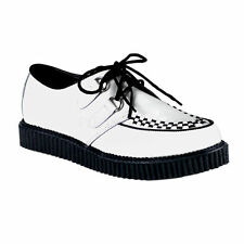 Demonia 602 Gothic Rockabilly Punk White Leather Low Sole Creeper Men'S Shoes