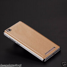 LUXURY CHROME BUMPER WITH PU LEATHER BACK CASE COVER FOR XIAOMI REDMI 3S