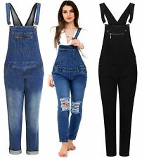 Womens Buttoned Pouch Pocket Mid Wash Blue Denim Jeans Dungaree Trousers