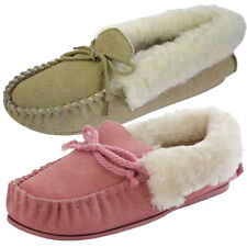 Womens Moccasin Suede Leather Slippers Pink Beige