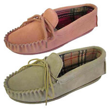 Womens Moccasin Leather Slippers Pink Beige