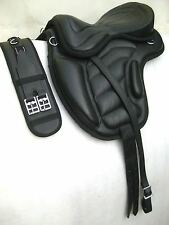 "Treeless cow softy leather Saddles black size 16"",17""&18"" + Matching Girth"