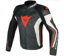 Dainese Assen black white rojo moto leather jacket