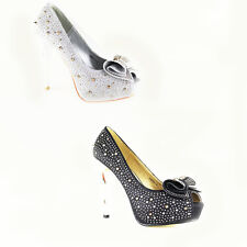 WOMEN'S LADIES WEDDING EVENING PEEP TOE PLATFORM HIGH HEEL COURT SHOES SIZE 3-7