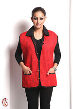 Comfy Cotton Quilted Jaipuri Women's Jacket in Red - LJCK1306