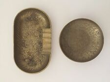 PAIR OF 2 INDIA BRASS ENGRAVED ETCHED DESIGN VINTAGE OVAL & ROUND ASHTRAYS