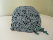 NEW MONSOON BABY GIRL TEAL COTTON CROCHET HAT SIZE 0-3 3-6 MONTHS 1-3 YEARS
