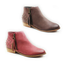 WOMENS LADIES TASSLE STUDDED CHELSEA STYLE CUBN HEEL ANKLE BOOTS SHOES SIZE 3-8