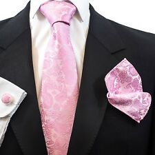 Mens Pink Paisley Jacquard Tie Hanky Cufflinks Gift Box Set PS005