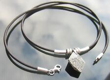 925Silver Genuine Leather Necklace with Swarovski Elements Marbled Stone Pendant
