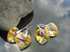 Large Heart 18 mm Crystal AB Earrings Pendant SET made with Swarovski Elements