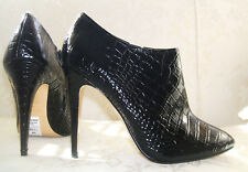 RRP £99 NEW DUNE SIZE 6 / 7 BUSHWACKA BLACK REAL LEATHER CROC ANKLE BOOTS SHOES