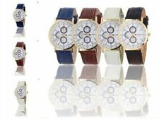 leather Quartz Watch for women men Luxury Geneva Watches fashion 3 eyes Quartz