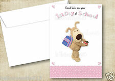 1 PERSONALISED BOOFLE GOOD LUCK AT YOUR NEW SCHOOL, 1ST DAY AT SCHOOL CARD