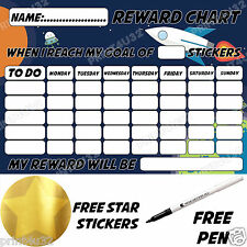 Reusable Behaviour Reward Chart space Rocket, free Star Stickers & pen MAGNETIC