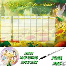 Reusable Behaviour Reward Chart Tinkerbell LS, free Stickers & pen. MAGNETIC