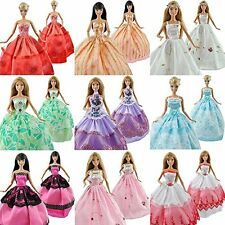 5pcs/Lot Barbie Doll Fashion Princess Dresses Outfits Party Wedding Gown Clothes